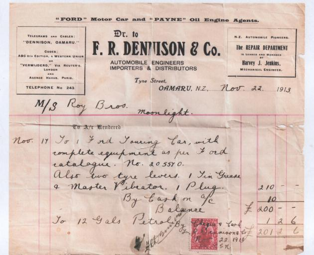 Twelve gallons of petrol for 1 2/6 on this 1913 invoice. According to Neil Roy that works out...