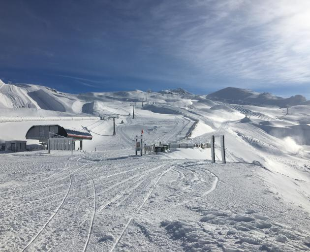 Almost a metre of snow has allowed the Cardrona Alpine Resort to open for an early weekend. PHOTO...