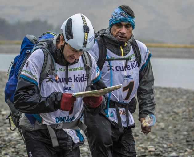 Chris Forne (left) and Nathan Faavae during the 2015 GodZone race near Wanaka. Photo: Supplied