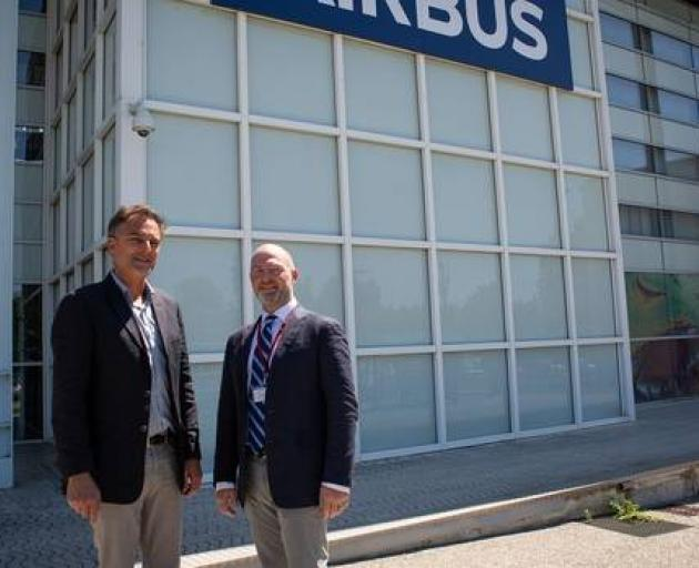 Jean-Louis Bellan of Airbus and Steve Cotter, CSST CEO meet at Airbus Defence and Space headquarters in Toulouse, France to discuss their partnership. Photo: Supplied via NZ Herald