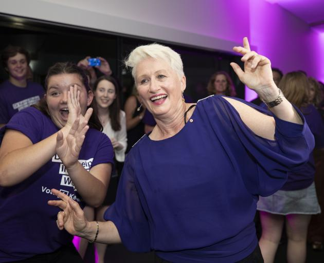 Kerryn Phelps (right) celebrated last night as she believed she had already won the Wentworth...