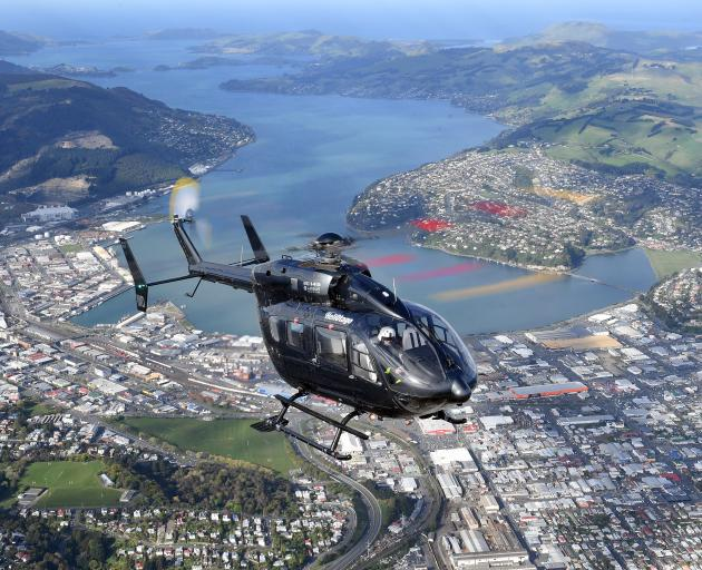 Helicopters Otago's new air ambulance helicopter, a twin-engine Eurocopter 145, gets a feel for its new surroundings. It will join the fleet next month. Photo: Stephen Jaquiery