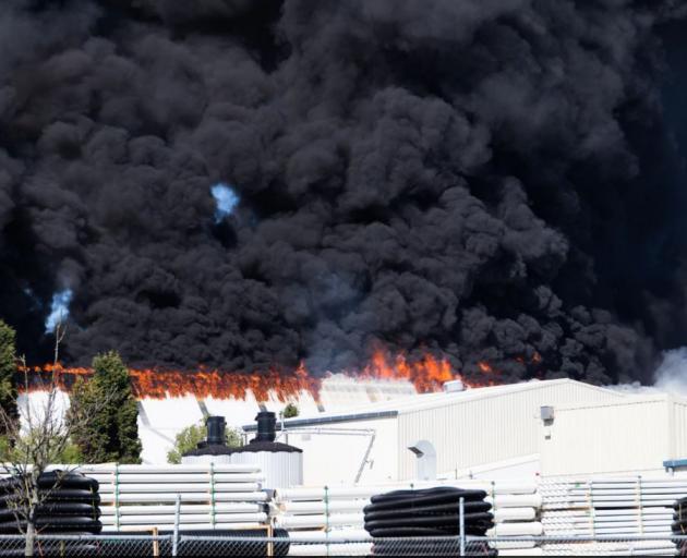 The blaze began in Main South Rd. Photo: NZME