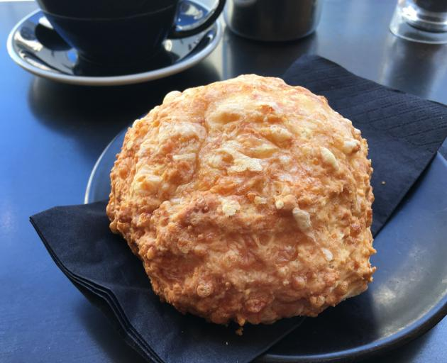 """The best cheese scone in town. All hail to the efforts of Insomnia by Strictly Coffee in Dunedin's Bath St. Photo: Paul """"Gutsy"""" Gorman"""