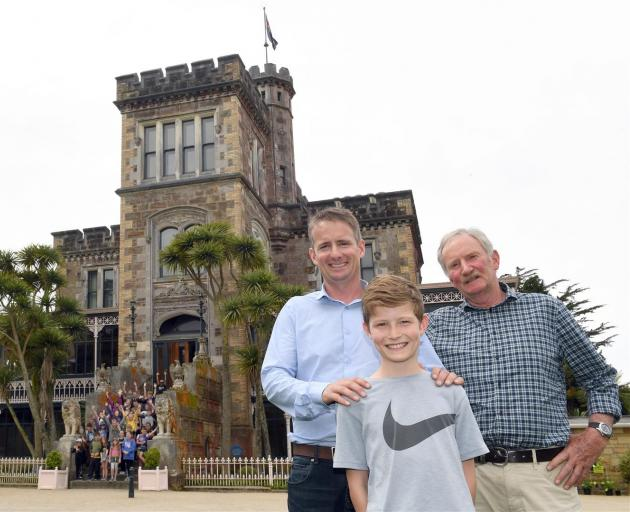 Descendants of Larnach Castle architect Robert Arthur Lawson, (from left) Rob, Sam and Jim Lawson, visited the castle yesterday. Photo: Stephen Jaquiery