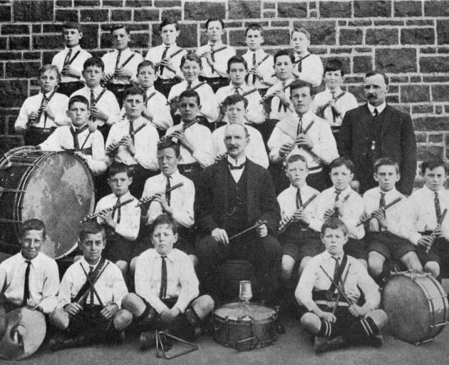 North East Valley school fife and drum band (conductor, Mr Colbert), winners of the B grade cup at the recent Dunedin competitions. - Otago Witness, 9.10.1918.