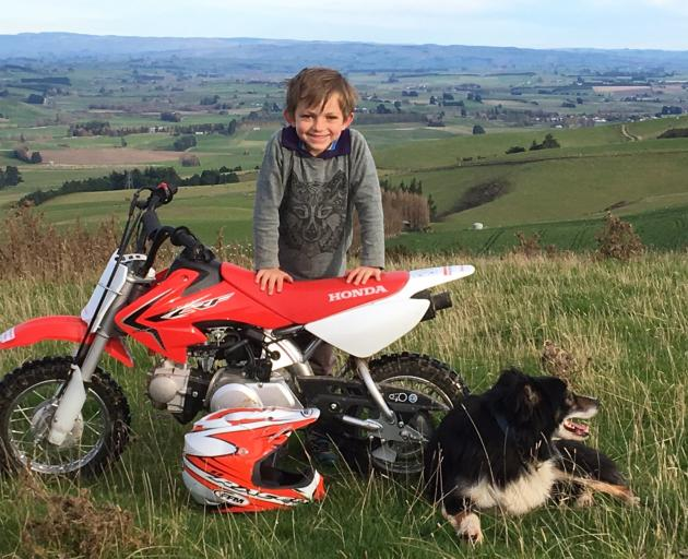 Ollie Paterson (8) with his motorbike, Emmie Paterson (6) inspects some sheep with Brian the dog, and Jimmy Paterson (4) also checks out some sheep. Photo: Paterson family