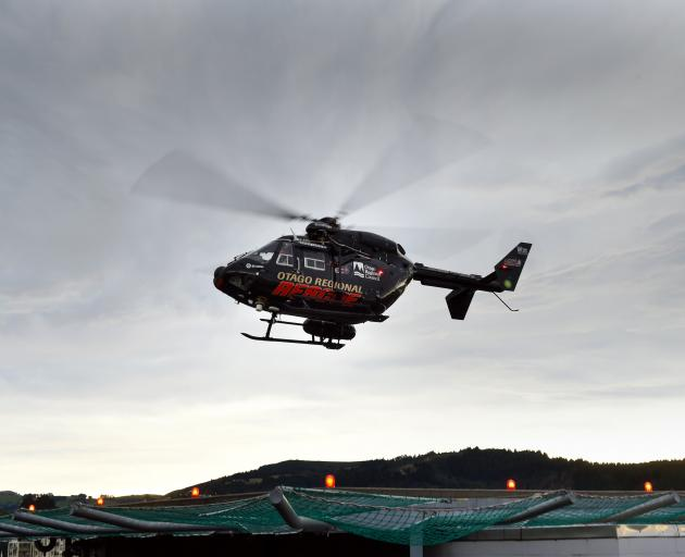 The Otago Regional Rescue Helicopter lifts off from the Dunedin
