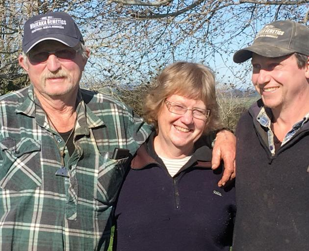 Laurie (left), Sharon and Ross Paterson from Waikaka Station in Eastern Southland. Photo: Sally Rae