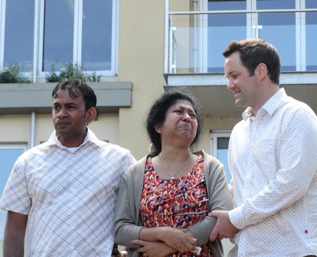 Sam Wijerathne, his wife Dinesha Amarasinghe, and Clutha-Southland MP Hamish Walker. Photo: Paul...