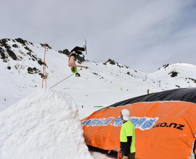 A participant pulls off a backflip at last year's Svend It Day fundraiser at the Remarkables in...