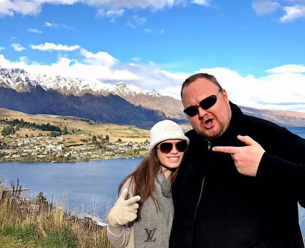 Multimillionaire Kim Dotcom, pictured with his new wife Liz, is looking for live-in staff in...