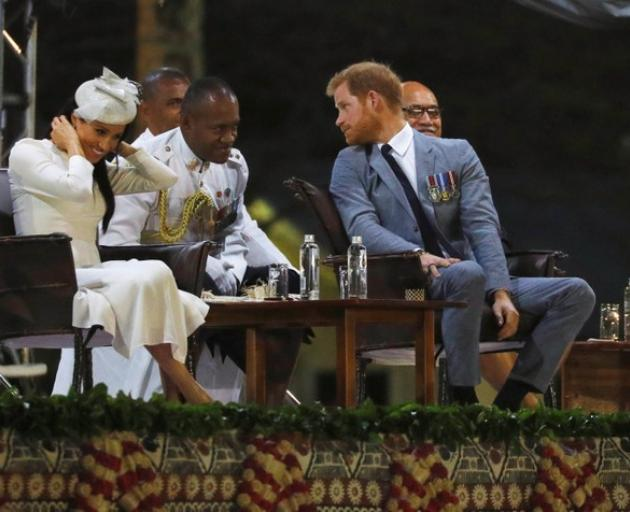 Britain's Prince Harry and Meghan, the Duchess of Sussex attend an official welcome ceremony in Suva, Fiji. Photo: Reuters