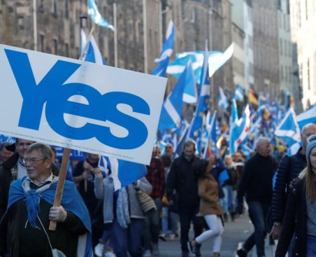 'All Under One Banner' pro-independence protesters take part in a march and rally in Edinburgh. Photo: Reuters