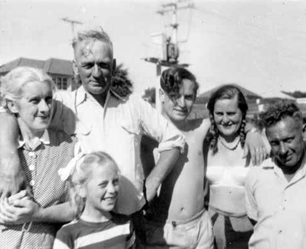 The Shadbolt family at Glen Eden, Auckland, January 1957, (from left)Vi, Julia, Frank, Maurice,...