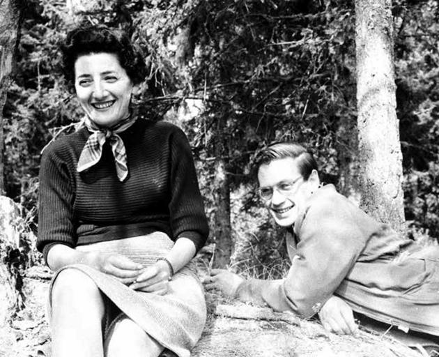 Maurice Shadbolt at play with Jenny Bojilova at Bistritsa, Bulgaria, in October 1957. Photos:...