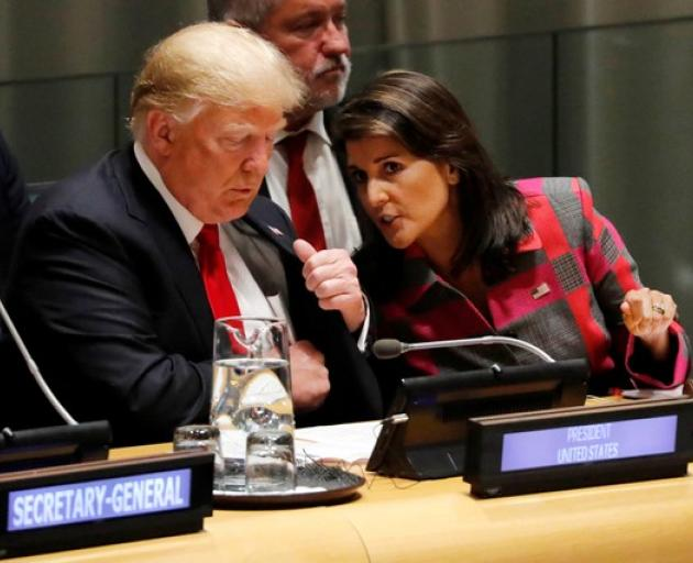 US President Trump and UN Ambassador Haley attend United Nations Global Call to Action in New York. Photo: Reuters