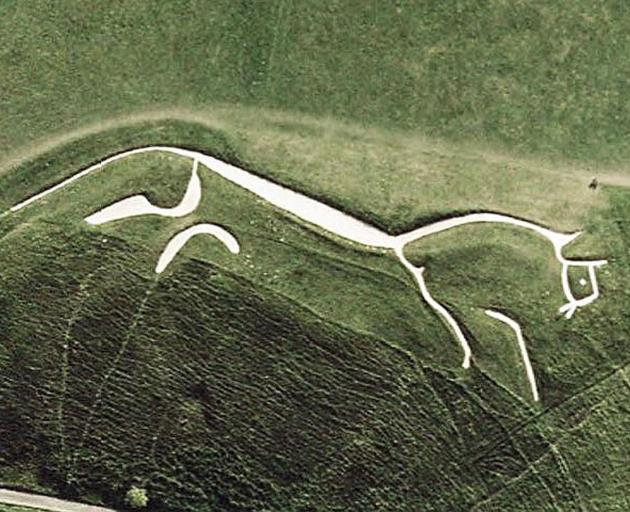 . . . which could be the cousin of the famous, prehistoric 110m-long Uffington White Horse, carved into a chalk hillside on the Berkshire Downs in the late Bronze Age, sometime between 1380BC and 550BC. Photo: Wikipedia