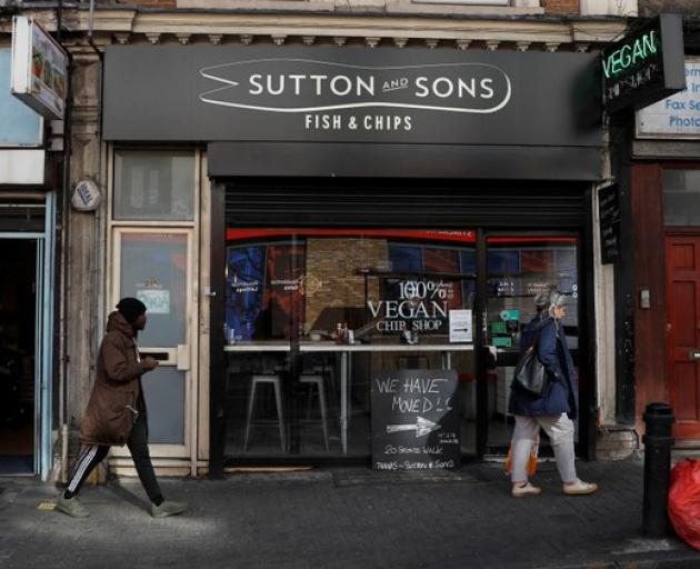 Sutton and Sons vegan fish and chip restaurant is seen in Hackney, London. Photo: Reuters