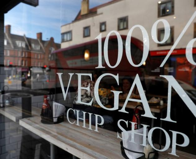 The vegan fish costs 5.50 pounds ($NZ10.85) per serving. Vegan burgers and sausages are also on the menu to cover the full spectrum of vegan fast food. Photo: Reuters