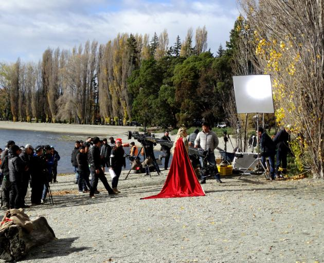 A film crew shoots scenes for the Chinese fantasy drama television series 'Legend of S' on the shores of Lake Wanaka last year. Photo: Tim Miller