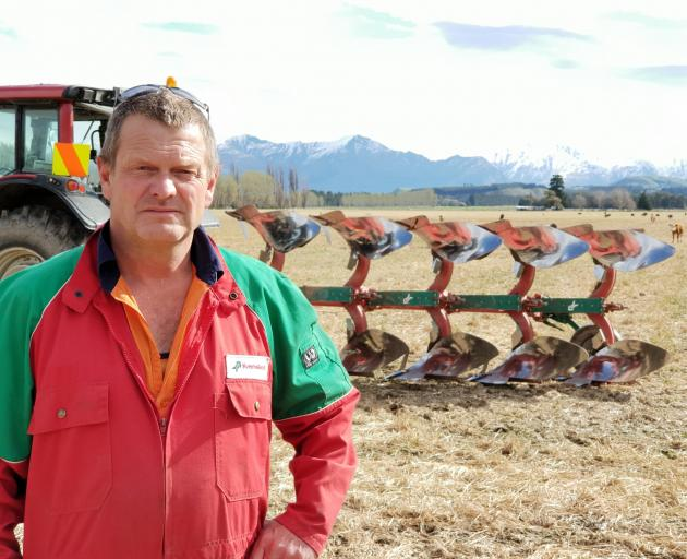 Lake Hawea contractor John Osborne prefers the old-fashioned plough to more modern methods. Photo: Sean Nugent