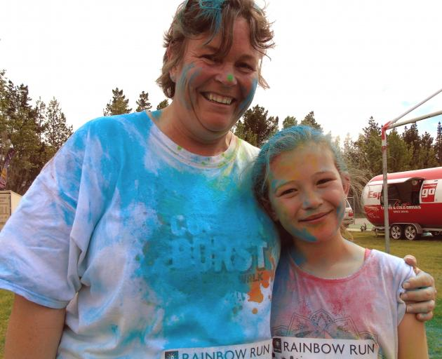 Mother and daughter Rachel Andrews and Gina Andrews,  of Ranfurly, at the Alexandra Rainbow Run...