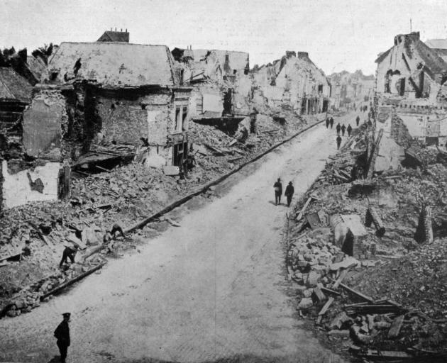 Ruins in the town of Bapaume in France, where a great battle was recently fought, with New Zealanders involved in its capture. - Otago Witness, 13.11.1918.