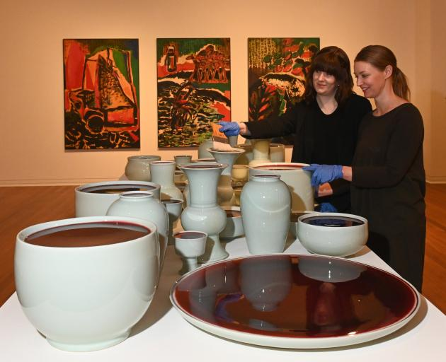 Curators Lauren Gutsell (left) and Lucy Hammonds prepare for the upcoming ''New Networks:...