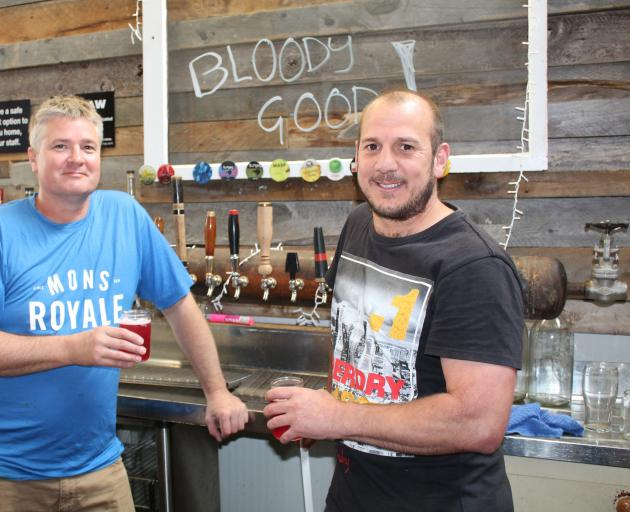 Bloody Good Brew Co director Sean Woodward (left) and general manager Simon Walker celebrate before the launch of the company's new brand. Photo: Supplied