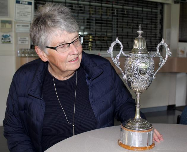 Queens Park Ladies Golf Club club captain Jo Raines with the Stead Cup, which will be contested...