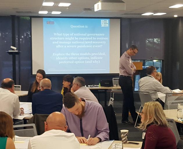 Officials take part in the Exercise Pomare pandemic planning exercise. Photo: Supplied