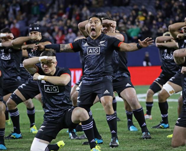 Highlanders co-captain Ash Dixon leads the haka in the lead up to the Maori All Blacks win over...