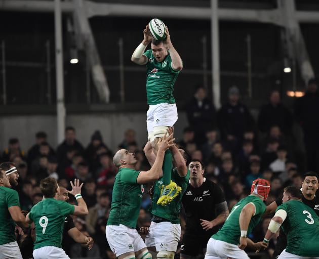 Ireland's Peter O'Mahony wins the ball during an imperious all-round display in Dublin. Photo:...