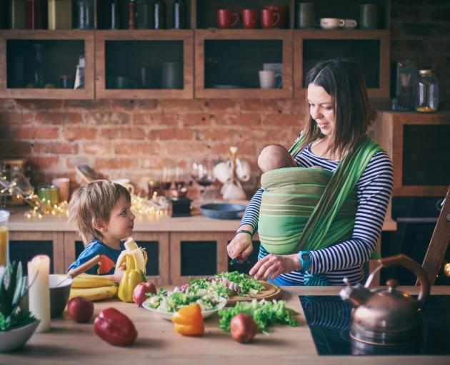 It may be tricky with a newborn, but prioritising healthy eating is likely to help with weight...
