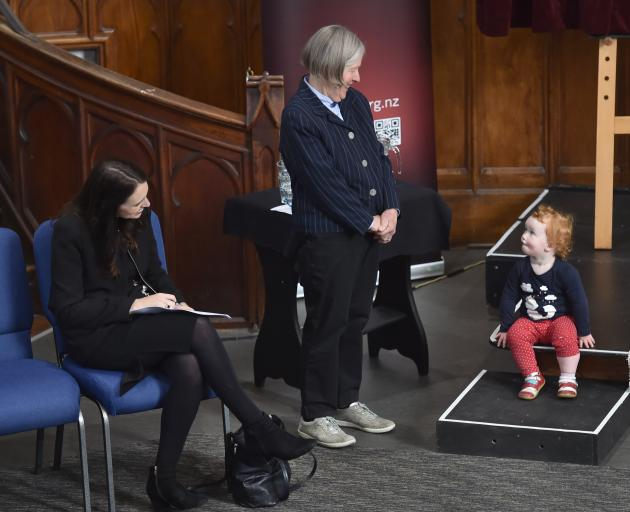 Prime Minister Jacinda Ardern and Dunedin Symphony Orchestra board president Ruth Houghton give...