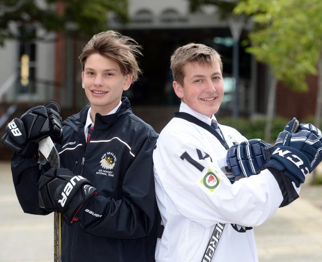 John McGlashan College pupils Billy Sheard (16), left, and Padraig MacKenzie (18) will represent New Zealand at the under-20 ice hockey world championship in Reykjavik in January next year. Photo: Linda Robertson