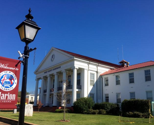 The Gothic revival style Perry County Courthouse in historic Marion Square.