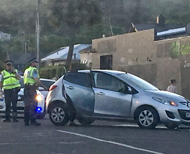 Police attend a crash at the intersection of Eden and Reed Sts on Tuesday. Photo: Tyson Young