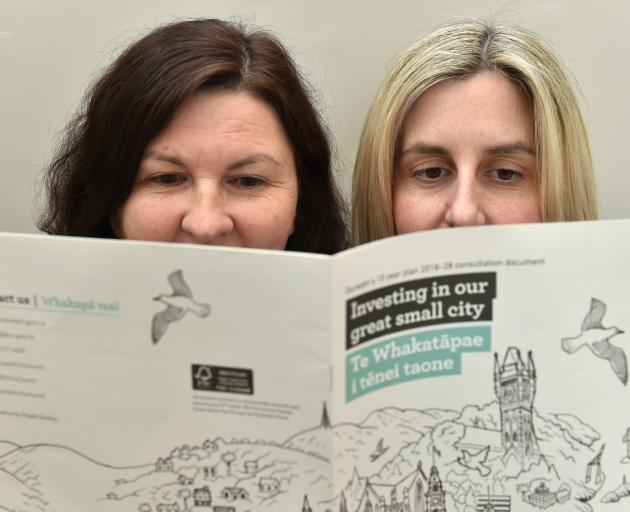 Dunedin City Council communications team leader Andrea Jones (left) and senior policy analyst...