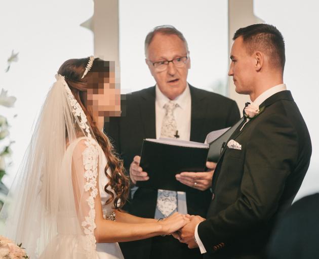 Celebrant Peter Doyle (centre) marries Karel Sroubek, aka Jan Antolik, in 2016. Photo: Dawn Thomson Photography
