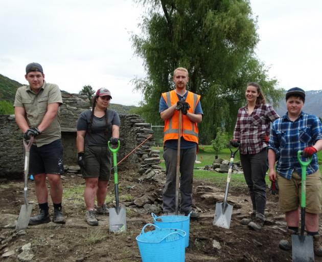 The team of archaeologists working on an Arrowtown Golf Club site comprises (from left) Oliver Walne, Rebecca Benham, Benjamin Teele, Megan Lawrence and Arthur Grainger. Photo: Joshua Walton