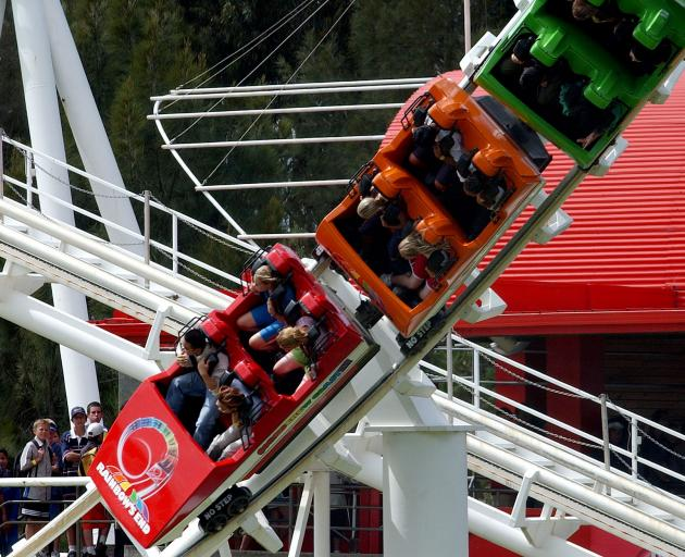 About 15 passengers were escorted off the Corkscrew Coaster at the Auckland theme park this morning after a back-up safety mechanism caused it to stop during the incline. Photo: Getty Images