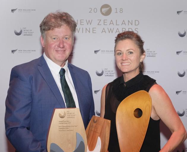 Dan and Sarah-Kate Dineen, of Maude Wines, Central Otago, won the top prize, the New Zealand Wine...