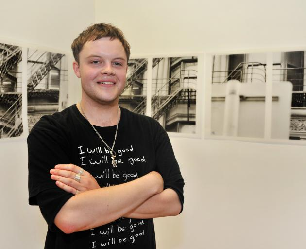 Kipp Richards plans to make one large mural out of the bitmap sections of a Dunedin building he photographed. Photo: Christine O'Connor