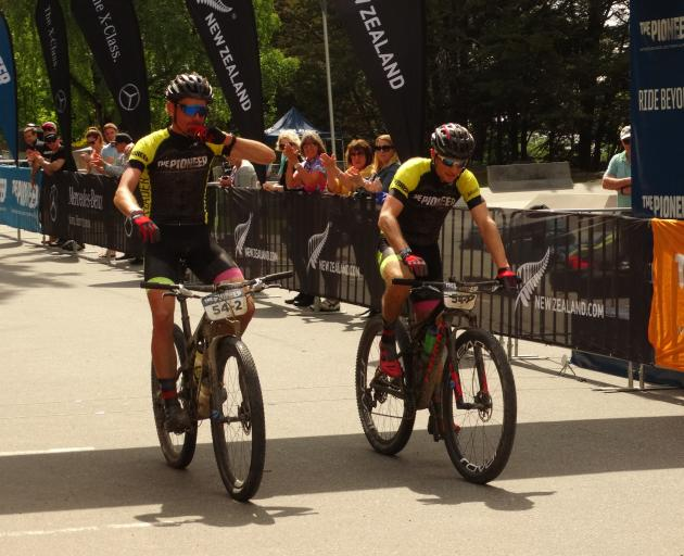 Michael Vink (left) and Tim Rush win The Pioneer mountain bike race in Queenstown yesterday....
