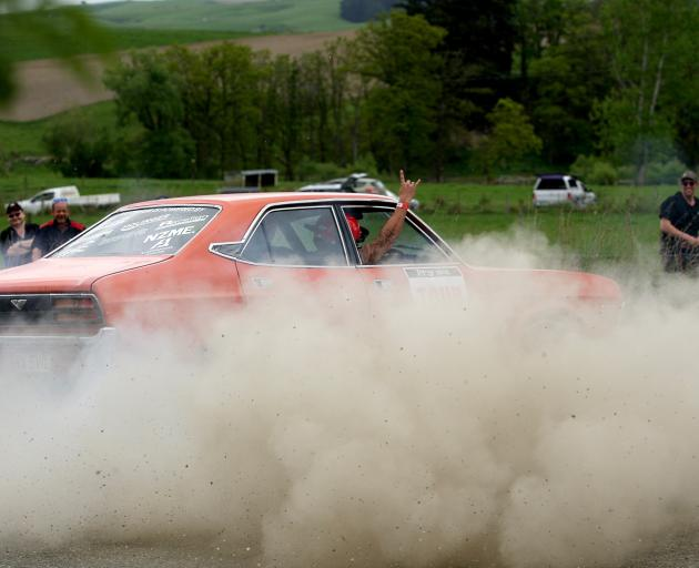 A participant entertains the crowd at Heriot, on day one of the recent Targa Rally. PHOTO: JOHN...