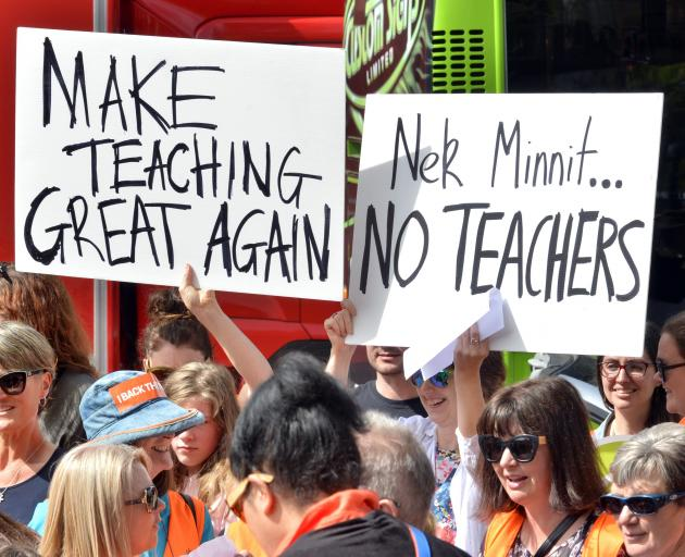Strikes are ongoing but concessions have been made over contentious legislative labour law reforms; pictured, striking primary school teachers in Dunedin's Octagon a fortnight ago. Photo: Gerard O'Brien