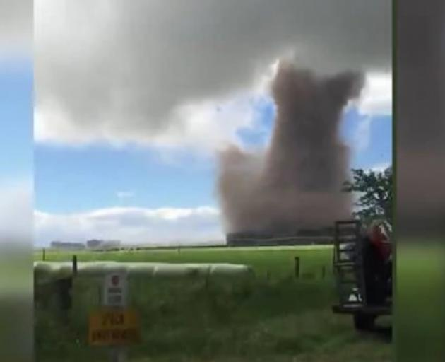 The twister was captured by local resident Alesha Plew as she and her husband were driving along...