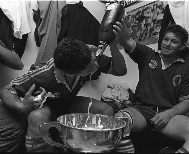 Paul Cooke (left) and John Haggart celebrate Otago's 1991 NPC win. Photo: ODT files